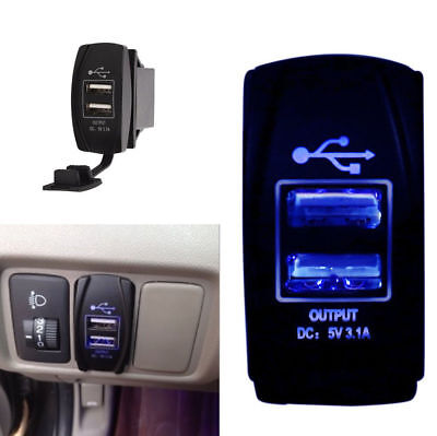 12V-24V 3.1A Waterproof Dual USB Car Power Charger Port Socket  Blue LED Light