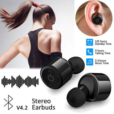 Wireless Stereo Earphones Ear Buds Sports Mini Bluetooth Cordless Headset iPhone