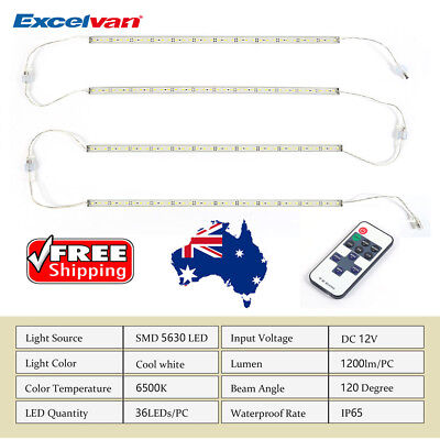 4X12V Cool White 5630 Led Strip Lights Bars Home Outdoor Camping Boat Car+Remote