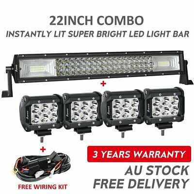 "22Inch LED Light Bar Combo+4"" CREE SPOT FLOOD PODS OFFROAD SUV 4WD ATV FOG JEEP"