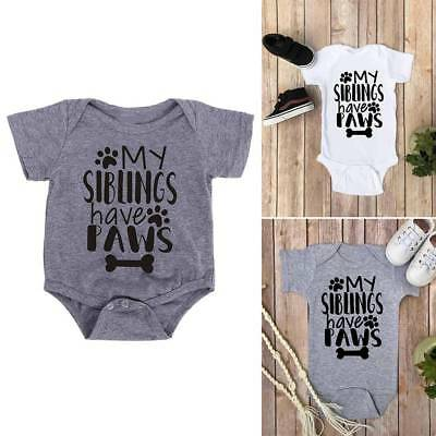 Newborn Bodysuits My Siblings Have Paws Letter Print Romper Short Sleeved