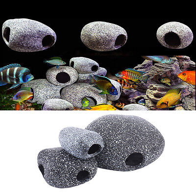 Aquarium Fish Tank Pond Ornament Cichlid Stone Rock Decor Shrimp Breeding Cave