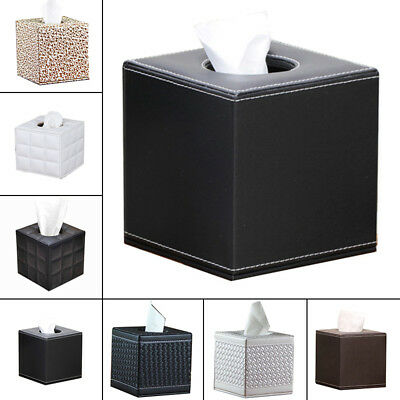 Square Leather- Home Room Car Hotel Tissue Box- Cover Paper Napkin Holder Box