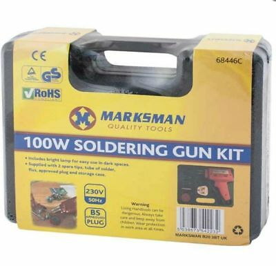 Electrical Soldering Iron Gun Kit 100 Watt With Case With Two Extra Tips New