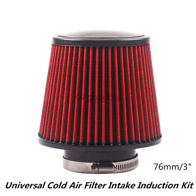 Universal Car Cold Air Filter Intake Induction Kit Lifetime Warranty Cone -Red