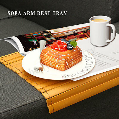Wood Sofa Arm Rest Tray Flexible Couch Placemat Bamboo Foldable Snack Table Pad