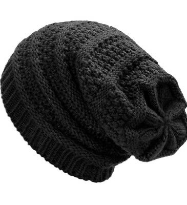 Ladies Mens Unisex Warm Winter Knit Slouch Beanie Hat Cosy Fur Fleece Liner