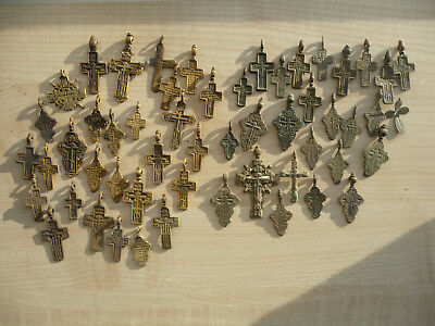 Metal detector finds.Mix lot  ancient crosses (The age of 17-19)53 pieces. N50