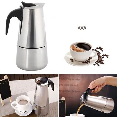 6 Cup Stainless Steel Moka Coffee Pot Stove Top Maker Cafetiere Percolator 300ML