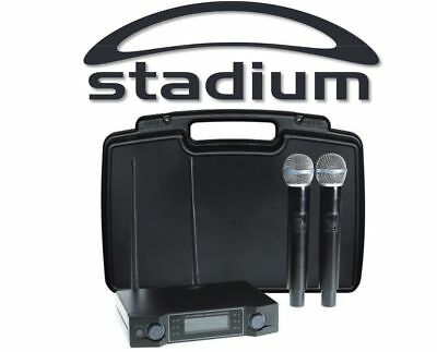 Stadium Twin UHF 60M Wireless MIC Microphone Pack transmitter Carry Case W2MICB
