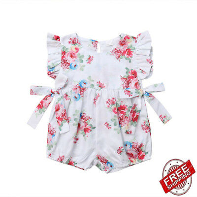 Newborn 0-18M Baby Girls Flower Ruffle Romper Jumpsuit Bodysuit Outfit Clothes*