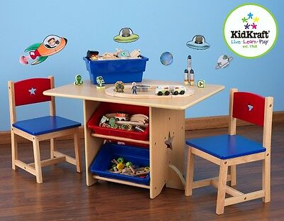 Kidkraft Star Play Table with storage boxes, Kids Wooden Play Table and Chairs