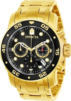 Invicta 21922 Men's Pro Diver Black Dial Yellow Gold Steel Bracelet Chrono Watch