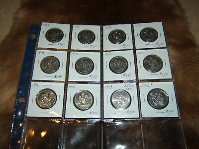 Lot of 12...1969 - 2002P fifty cent pcs...free ship in Canada...try an offer!!!