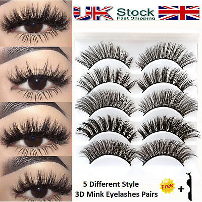 UK 5 Pairs 3D Eye Lashes Mink Natural Thick False Fake Eyelashes Extension Set