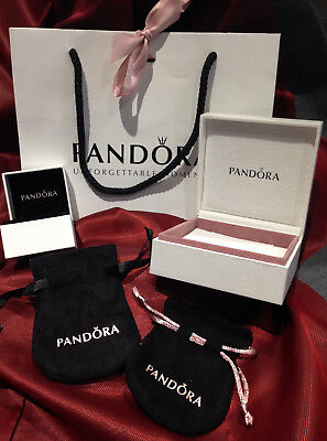 Genuine - New PANDORA Ring / Earring Box, Gift Bag & Ribbon ex PANDORA STOCK