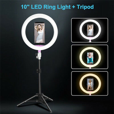 """10""""LED Ring Fill Light Studio Lamp Photographic Youtube Live Makeup Mirror Stand"""