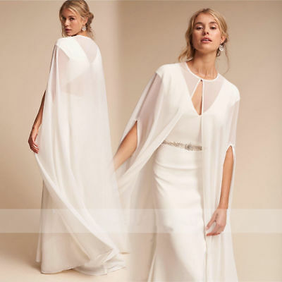 White Ivory Wedding Cape Chiffon Long Floor Length Bridal Shawl Jacket Plus Size