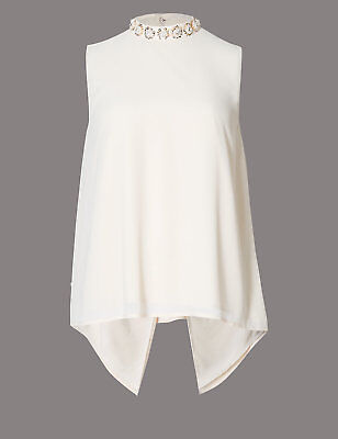 New M&S Autograph Oyster Cream Embroidered Sequin Neck Top Sz UK 10 14