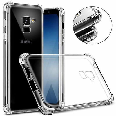 For Samsung J4 J6 J8 A6 A8 Plus A7 A9 2018 Shockproof Silicone Clear Case Cover