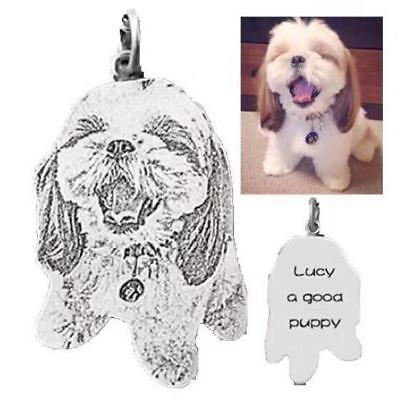 Personalised Pet Photo Engraved Dog Cat Memorial Loss Portrait Keyring/ Necklace