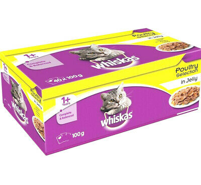 Whiskas 100g Pouches in Fish or Poultry Jelly x 12 x 40 Cat Food Feed