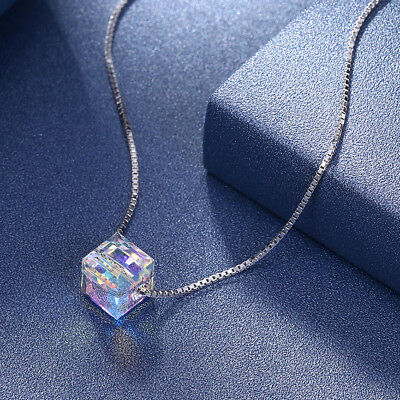 STERLING SILVER Aurora Borealis Necklace Made with Swarovski® Crystals LIFETIME