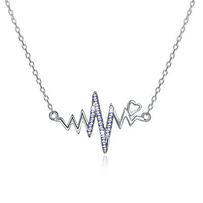 925 Sterling Silver White CZ Womens Heartbeat Pendant Necklace