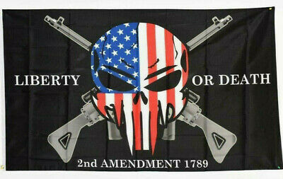 Liberty or Death 2nd Amendment The Punisher Skull 3'x5' American Flag NRA