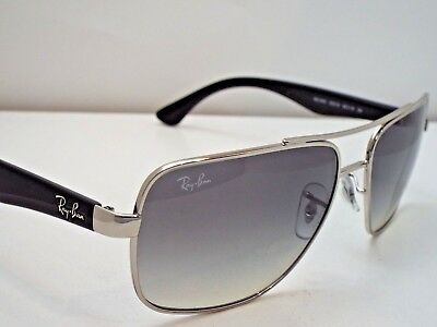 61a96da750 Authentic Ray-Ban RB 3483 003 32 Silver Black Light Grey Gradnt Sunglasses   215