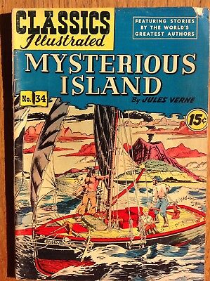 Classics Illustrated 34/HRN 92 Mysterious Island~Jules Verne 1947