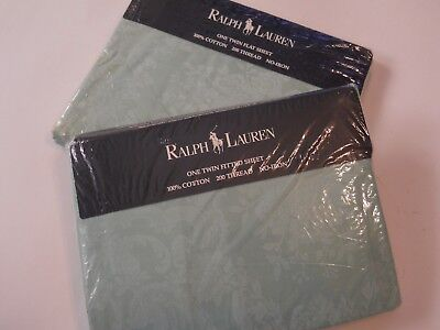 Rare Ralph Lauren Green Avery Damask Floral Twin Flat & Fitted Sheets