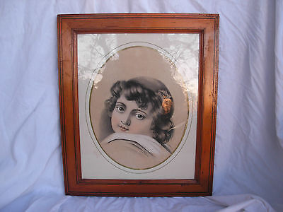 SUPERB ANTIQUE FRENCH FRAMED PENCIL DRAWING PORTRAIT,SIGNED,MIDDLE 19th CENTURY
