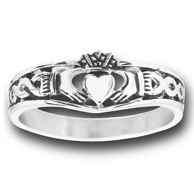 Details about  /Unisex Stainless Steel Claddagh Ring-SR4049-J