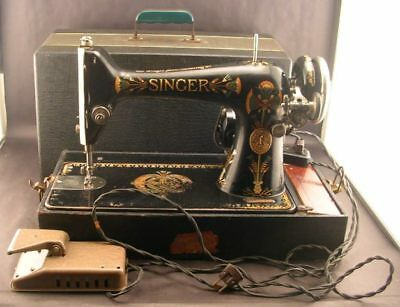 Antique Singer Model 66 Sewing Machine Lotus With Case Works