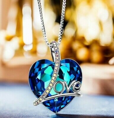 18K White Gold Plated Bermuda Blue Swarovski Elements Heart Necklace ITALY MADE