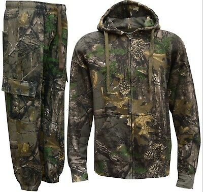 Mens Jungle Fishing/Hunting Combat Camouflage Camo Suit-Zip Hoody+Trousers S-5XL
