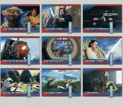 LAST JEDI SELECTS SERIES 2 WAVE 4 BLUE SET OF 9 CARDS Star Wars Trader Digital