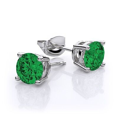 GENUINE 3.30 Cts EMERALDS STUD EARRINGS Silver **NEW WITH TAG**