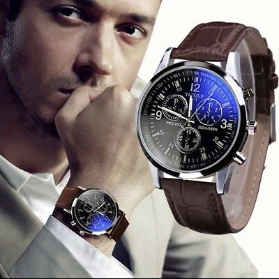 Fashion Faux Leather Mens Analog Quarts Watches Blue Ray Men Wrist Watch