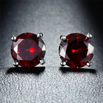 GENUINE 0.85 Cts RUBY STUD EARRINGS Silver * New With Tag *