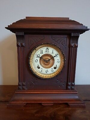 Antique Ansonia 8 Day Mahogany Mantle Clock (American Brass Detail Arch Top)