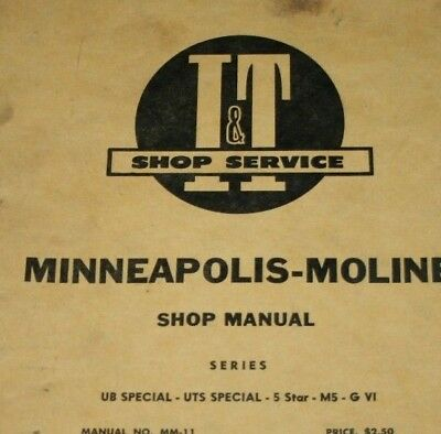 Minneapolis Moline Shop Manual Vintage I&T