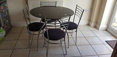 newest 88819 136d4 ARGOS LUSI GLASS Dining Table and 4 Chairs - Black