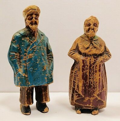 Vintage Hand Carved Wood Folk Art Couple Old Farmers Man and Woman