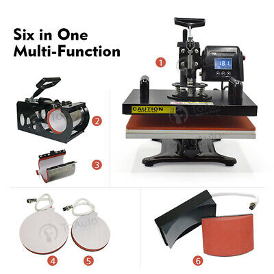 6 In 1 T-Shirt Mug/Plate Hat Sublimation Heat Press Transfer Machine DIY Printer