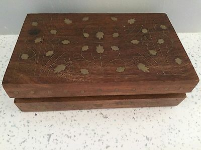 Vintage Decorative Wooden Card/ Trinket Box with Inlaid Brass leaves