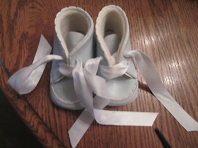 "Doll Or Baby Shoes Made In France Light Blue 18.. 4"" Long"