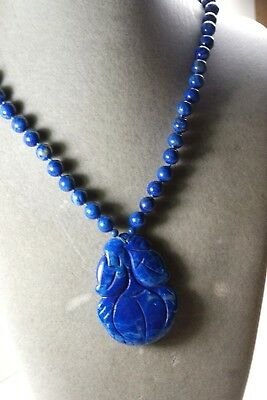 Vintage Chinese Gold Filled Carved Lapis Lazuli Peach Pendant Bead Necklace
