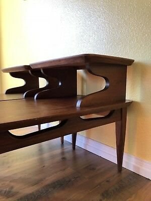 Matching Set Of 2 - Mid Century Modern Tiered Walnut End Tables